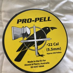 A tin of approximately 300 Pro-Pell .22 air rifle pellets